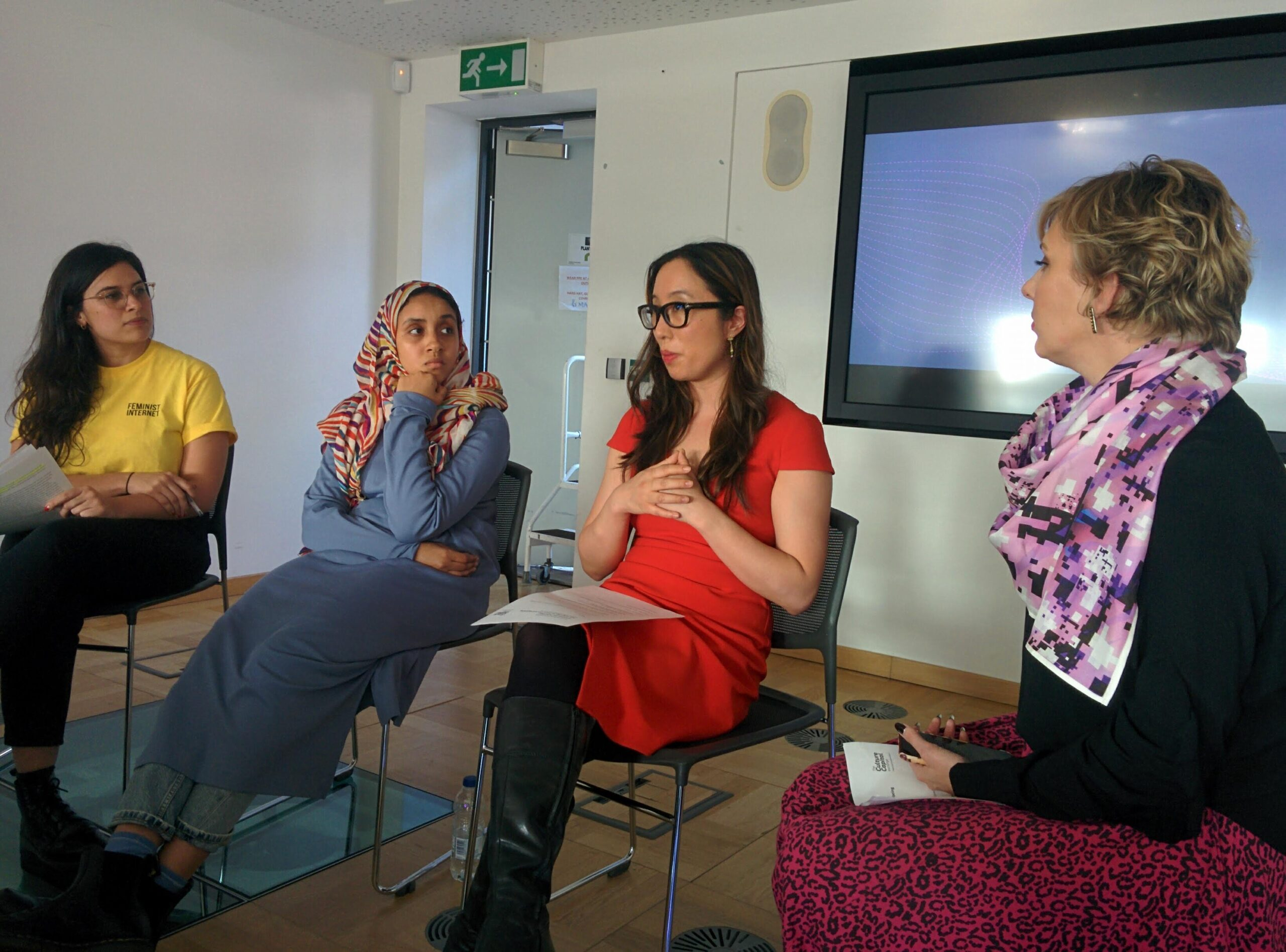 """From left: Dr Romy Gad el Rab, Hyphen-Labs; Abira Hussein, Independent Curator and Researcher; Dr Christine """"Xine"""" Yao, UCL; Charlotte Frost, Furtherfield"""